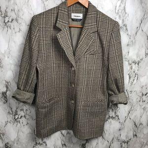 Tribal Plaid Tweed Blazer Jacket Size Petite 6